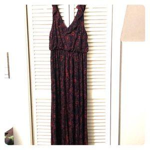 Loft Red & Black Maxi Dress